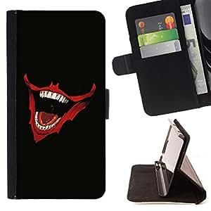 BullDog Case - FOR/HTC Desire 820 / - / Laughing Joker Mouth /- Monedero de cuero de la PU Llevar cubierta de la caja con el ID Credit Card Slots Flip funda de cuer
