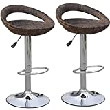 HomCom Set of 2 Pub Bar Stools Rattan Wicker Chair Chrome Finish Adjustable Swivel Seat, Deep Brown