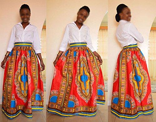 Monique Women African Style Floral Print Long Maxi Skirt High Waist Floor Length Skirts Dresses Longuettes for Ladies Yellow Orange L/XL by Monique (Image #3)