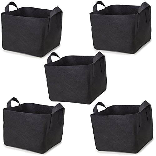 247Garden Square 7-Gallon Fabric Pots w/Handles (5-Pack Black Aeration Planting Grow Bags for Growing Trees, Plants, Flowers, Vegetables, Tomatoes and Potatoes) (Pots Grow Square)