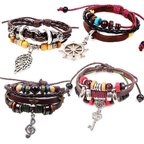 MIKINI Set of 3 Womens Charm Adjustable Leather Hemp Woven Braided Wrap Bracelet with Key Charm (Key,Note,Leaf,Compass)
