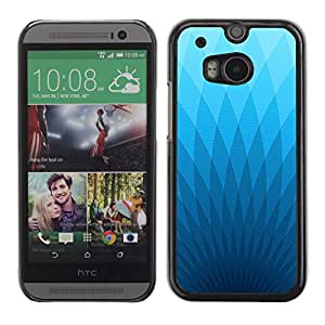 KOKO CASE / HTC One M8 / fondos de escritorio triángulo azul la luz del arte geométrico / Delgado Negro Plástico caso cubierta Shell Armor Funda Case Cover