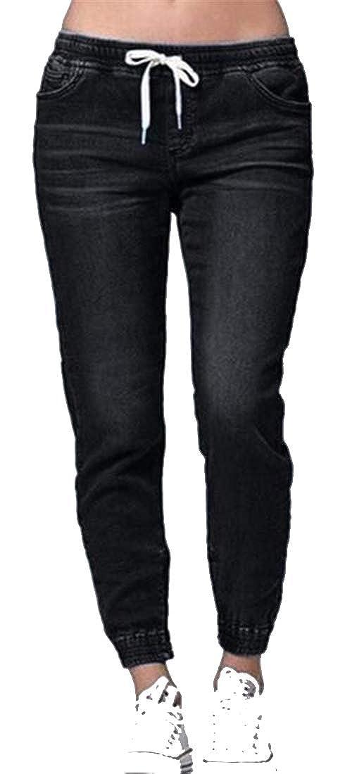 Jofemuho Womens Jogger Loose Casual Drawstring Low Waist Jeans Denim Pencil Pants
