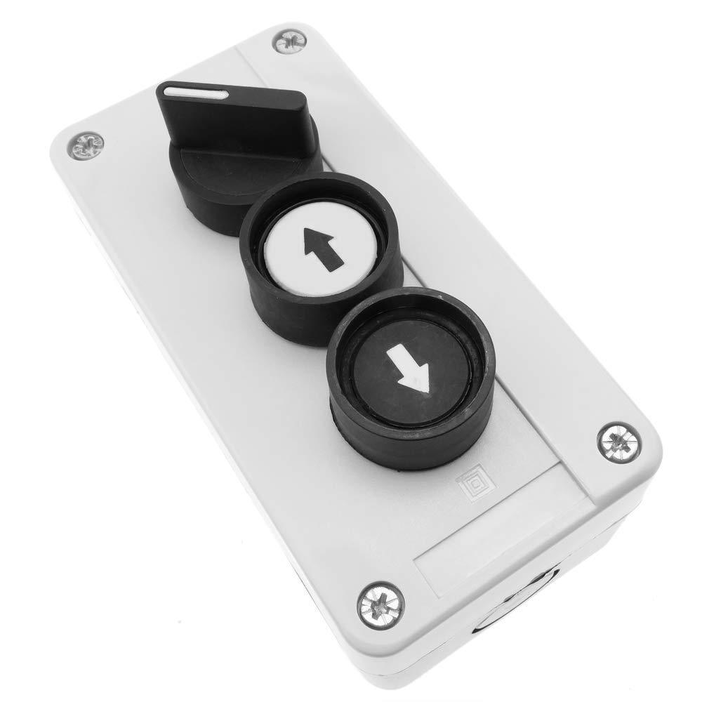 BeMatik Caja de control con selector y 2 pulsadores momentaneos con flechas 3NO