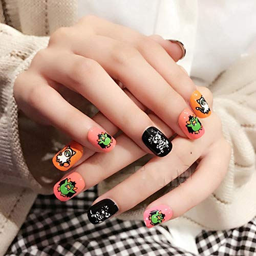 Harajuku Style Fake Nails Halloween Decoration Cute False Nails Short Nail Art Tips Cool Pattern With Glue Sticker bat mix for $<!--$14.86-->