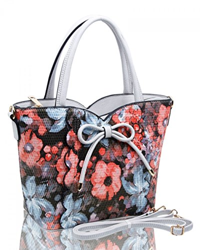 Handbags Women's Tote Pearl Leather LeahWard Grab With Print Bow 32 Medium Shoulder Faux Flower Bags dFXwqqa1