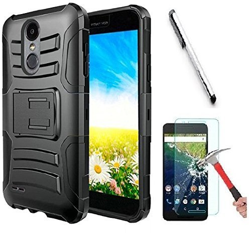 Motorola Moto G7 Power Case, Luckiefind Hybrid Armor Stand Case with Holster and Locking Belt Clip with Stylus Pen Accessories (Holster Black)