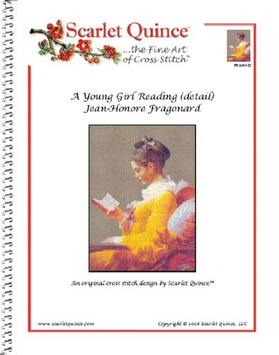 Scarlet Quince FRA001-D A Young Girl Reading (detail) by Jean-Honore Fragonard Counted Cross Stitch Chart, Regular Size Symbols