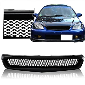 Mesh Style Front Grille Compatible with 1999-2000 Honda Civic DX LX EX Si