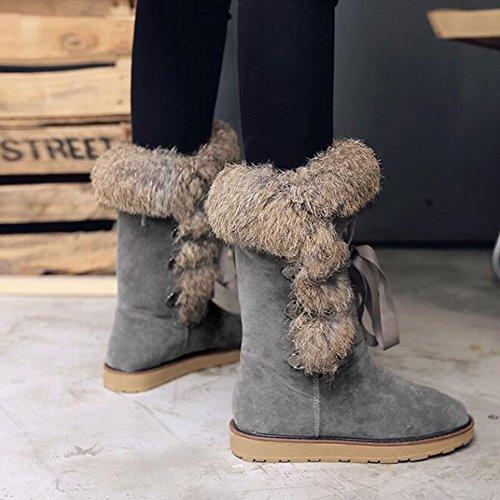 Summerwhisper Womens Trendy Faux Suede Vetersluiting Ronde Neus Flats Warm Fleece Gevoerde Halfhoge Snowboots Schoenen Grijs