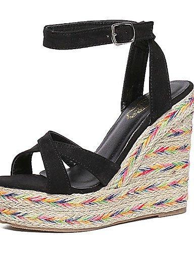 ShangYi Women's Shoes Fleece Wedge Heel Open Toe Sandals Party & Evening / Dress Black / Pink Pink ISph4M9u