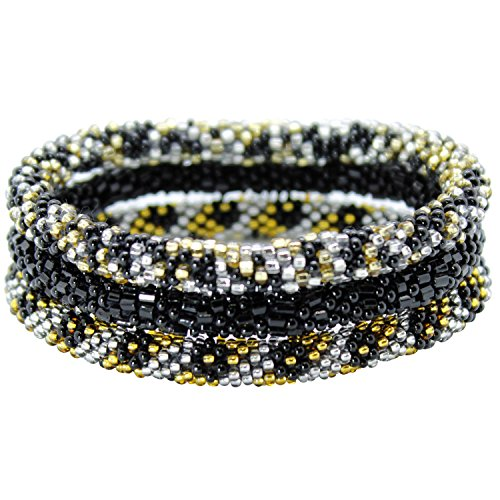 Aid Through Trade Roll On Beaded Bracelets, Set of 3 Black, Gold-tone and Silver-tone