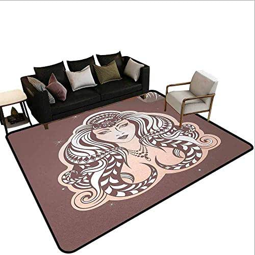 AlEASYHOME Custom Rugs and Mats, Mythological Woman Portrait with Tribal Hairstyle Female Virgo, 3.2′x5.2′ Hardwood Or Tile Floors Protection, Warm Taupe Peach and White