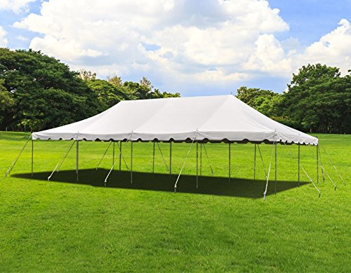 TentandTable 20-Foot by 40-Foot Heavy Duty 14-Ounce Vinyl White Canopy Pole Tent Set with Storage Bag for Weddings, Parties, and Events