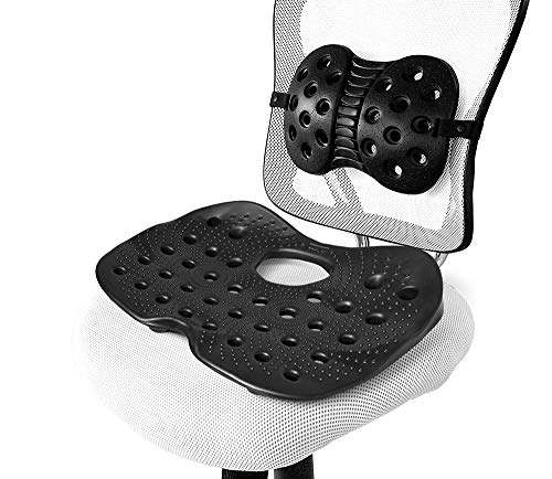 BackJoy SitzRight Seat Cushion w/Lumbar Support | Wedge Cushion for Office Chair, Desk or Car Seat | Seat Cushion for Low Back Support, Tailbone Pain, Coccyx and Sciatica | Ergonomic ()