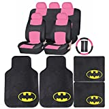 pink batman seat covers - Synthetic Leather (Pink) Seat Covers Set DC Comic Batman Rubber Floor Mats Universal