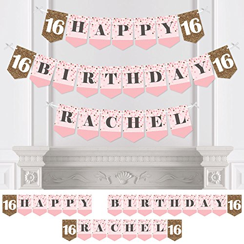 Custom Sweet 16 - Personalized 16th Birthday Party Bunting Banner