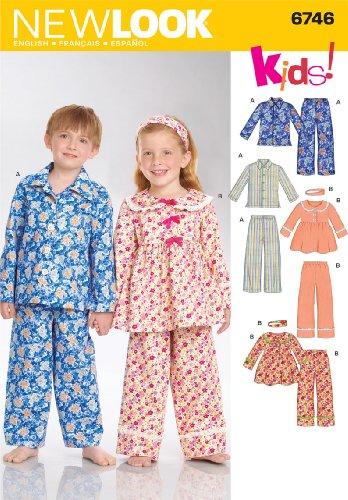 New Look Sewing Pattern 6746 Child Sleepwear, Size A (3-4-5-6-7-8)