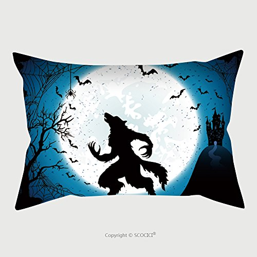 Custom Microfiber Pillowcase Protector Dark Halloween Background With Moon On Blue Sky Castle And Werewolf Grunge Decoration With Cobweb 497578531 Pillow Case Covers (Scooby Doo Halloween Kiss)
