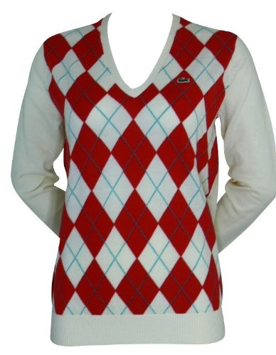 bfd3a4d74c34 LACOSTE Damen Pullover Gr. 46 Creme Rote Raute Merino  Amazon.de ...