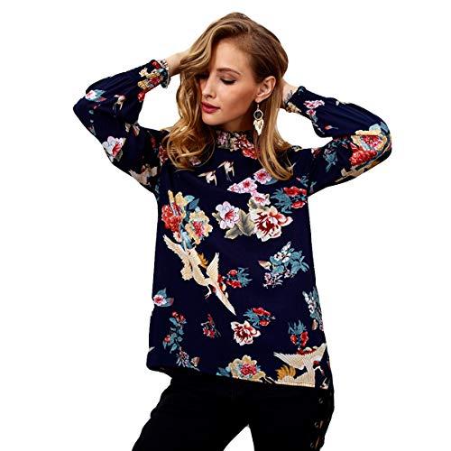 Chiffon Donna Stampa Blu in a Jahurto Collo Floreale con Camicia Alto Casual da 0qwE71X4x