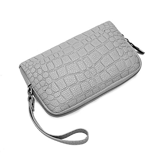 Leather Wallet Zipper Clutch Grey Phone Wristlets Holder Handbags Women PU Everpert Coin wzqCEE6