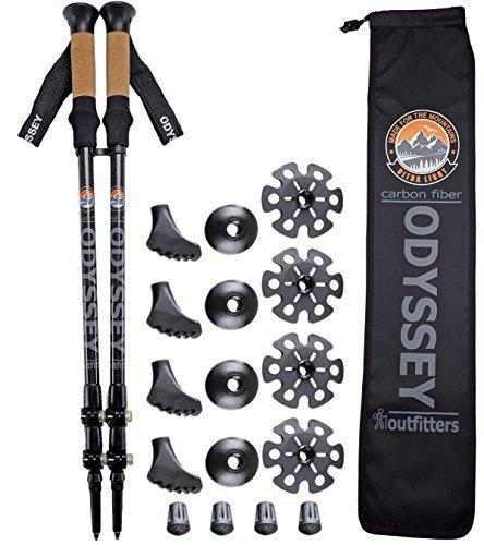 »» ON SALE «« Odyssey Outfitters ULTRALIGHT Carbon Fiber Collapsible Hiking Trekking Poles - Ultra Light - Flip Locks - Cork Handles - Plus DOUBLE BONUS Accessory Pack - 5 Year Warranty