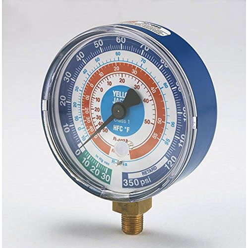 """Yellow Jacket 49136 3-1/8"""" Blue Compound, 30"""", 0-300 psi/bar, R-410A Gauge degrees C and degrees F"""