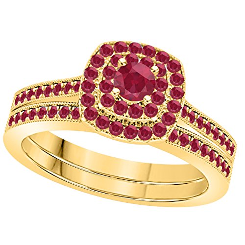 1 Ct Round Cut Cz Red Ruby 14k Yellow Gold Plated Wedding Bridal Set Double Halo Engagement Ring