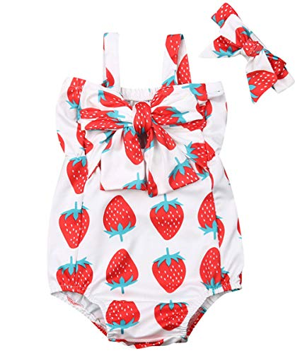 Newborn Infant Baby Girl Clothes Lace Halter Backless Jumpsuit Romper Bodysuit Sunsuit Outfits Set (Summer Strawberry Bowknot Bodysuit with Headband, 18-24 Months)