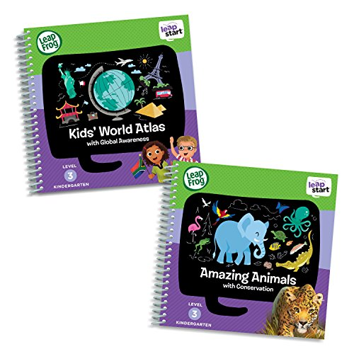 LeapFrog LeapStart Level 3 Kindergarten Activity Book Bundle with Kids' World Atlas, Amazing Animals