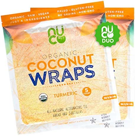 All-Natural, Paleo, Gluten Free, Vegan Non-GMO, Kosher Raw Veggie NUCO Coconut Wraps Turmeric Flavor. NO Salt Added Low Carb and Yeast Free 10 Count (Two Packs of Five Wraps Each)