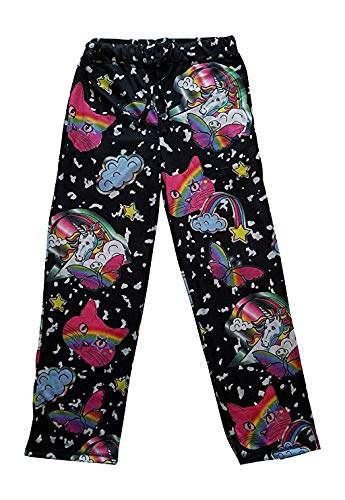 Top Drawer Mens Sleep Lounge Pants Unicorns Kitty Cat Heads Rainbows Butterflies Graphic, Black, Small (28-30)