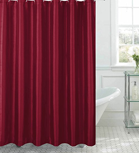 Jane Faux Silk Shower Curtain with 12 Metal Rings, Burgundy - Burgundy Shower Curtain: Amazon.com