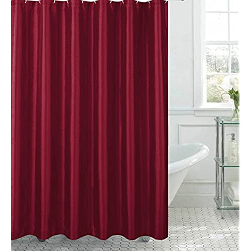 Jane Faux Silk Shower Curtain With 12 Metal Rings Burgundy