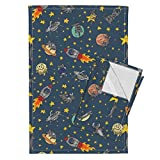 Space Cat Tea Towels Cats Outer Space Rocket Solar System Stars by Amber Morgan Set of 2 Linen Cotton Tea Towels