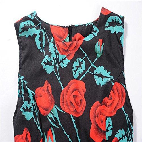 Donne 'Audrey Nota Musica Donna Abito Anni Collo Stampa rosso In Vestito Elegante Hepburn Elegante V Lonshell Floreale Maniche Cocktail Vestito Donna Vita Senza Fiori Vestiti 50 BvqO7
