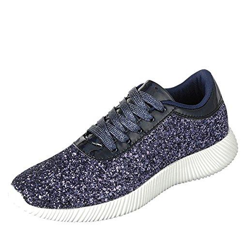 Per Sempre Punta Rotonda Da Donna Scintillio Luccicante Su Palestra Fitness Trainer Moda Running Sneaker Blu Scuro