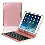 Wireless BT Keyboard Case Compatiable iPad mini1(A1432) iPad mini2(A1454) iPad mini3( A1455) 360 Degree Rotation 7 Colors Backlit Silent Typing Auto Sleep Wake (Rose Gold)