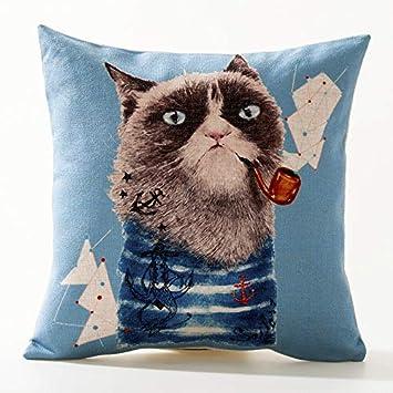 GOLDYO Cojines Almohadas Animal Color Plomo Gato Nórdico Inglaterra American Car Cushion Almohada de Dibujos Animados Oficina Sofá de algodón y Lino ...