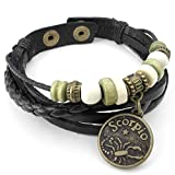 AnaZoz Alloy Logo Charms Adjustable Sign Bracelet Leather Bangle Black Men's Women's Jewelry