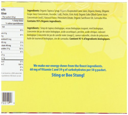 Honey Stinger Organic Energy Chews, Pomegranate Passion Fruit, 1.8 Ounce (Pack of 12)