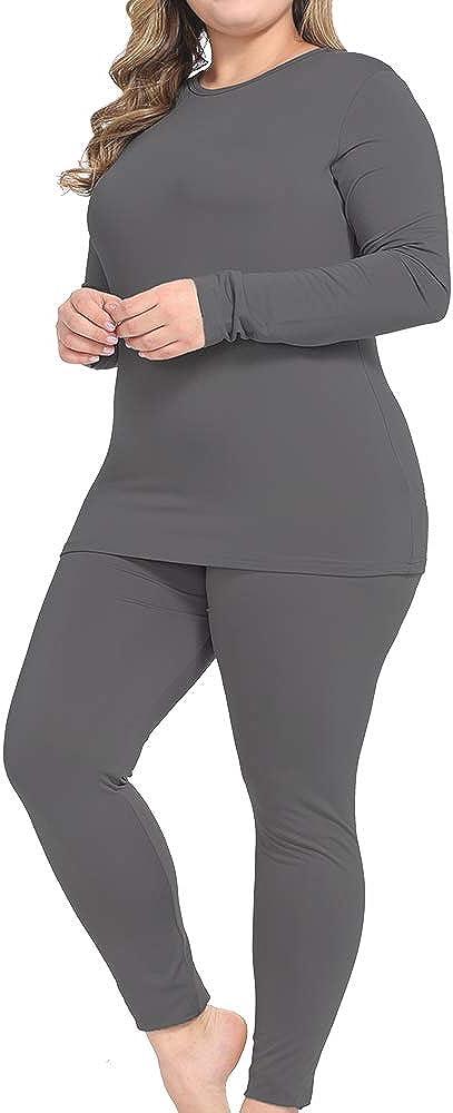 NUONITA Thermal Underwear for Women Long Johns Set Plus Size Fleece Lined Ultra Soft