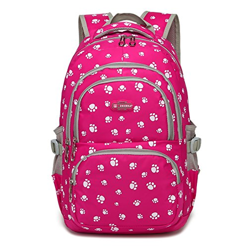 Dog Pawprint Cat Fingerprint Backpack for Elementary or Middle School Girls (Rose)