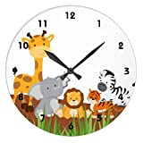 Wall Clocks Decorative for Living Room Cute Jungle Baby Animals Non-ticking Wood Quartz Wall Clock 12 Inch