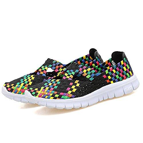 Rainlin Womens Multicolor Woven Fashion Sneakers Ademende Instapschoenen Zwart