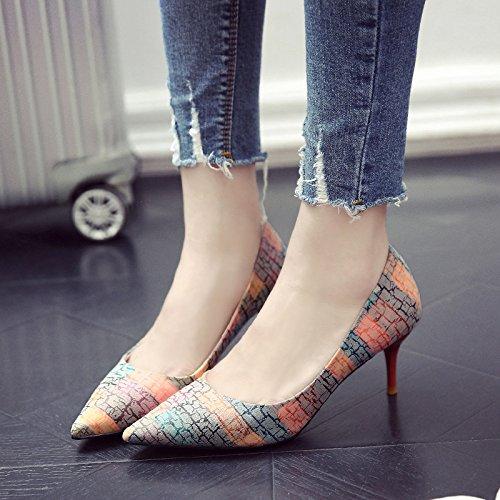 La rojo Adolescentes Tacones GAOLIM Temprana Con Las Finos La 5Cm De Naranja Zapatos Con Primavera Punta Solo De 8nnBSTx4