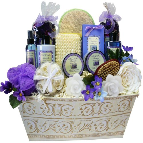 Art of Appreciation Gift Baskets Lavender Renewal Spa Bath and Body Gift Set, Large