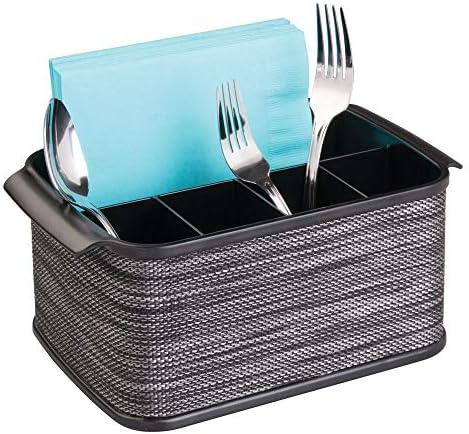 mDesign Juego de 2 cestas para Cubiertos con asa – Cestas con asa, Ideales para ordenar Cubiertos y servilletas, o para Picnic – Cuberteros con 4 Compartimentos pequeños y uno Grande Cada