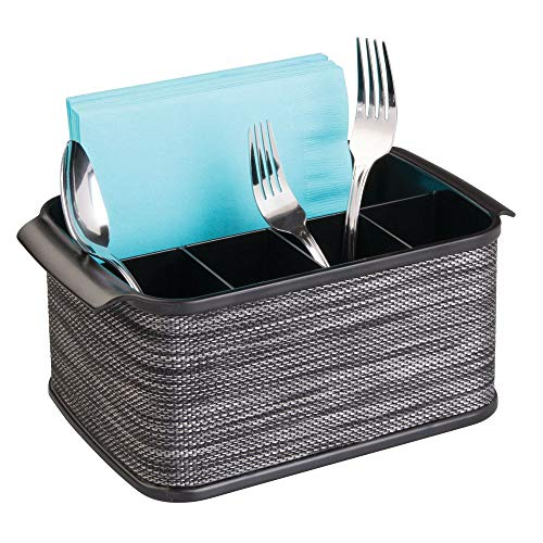 mDesign Plastic Cutlery Storage Organizer Caddy Tote Bin with Handles for Kitchen Cabinet or Pantry - Holds Forks, Knives, Spoons, Napkins - Indoor or Outdoor Use, Woven Accent - Black